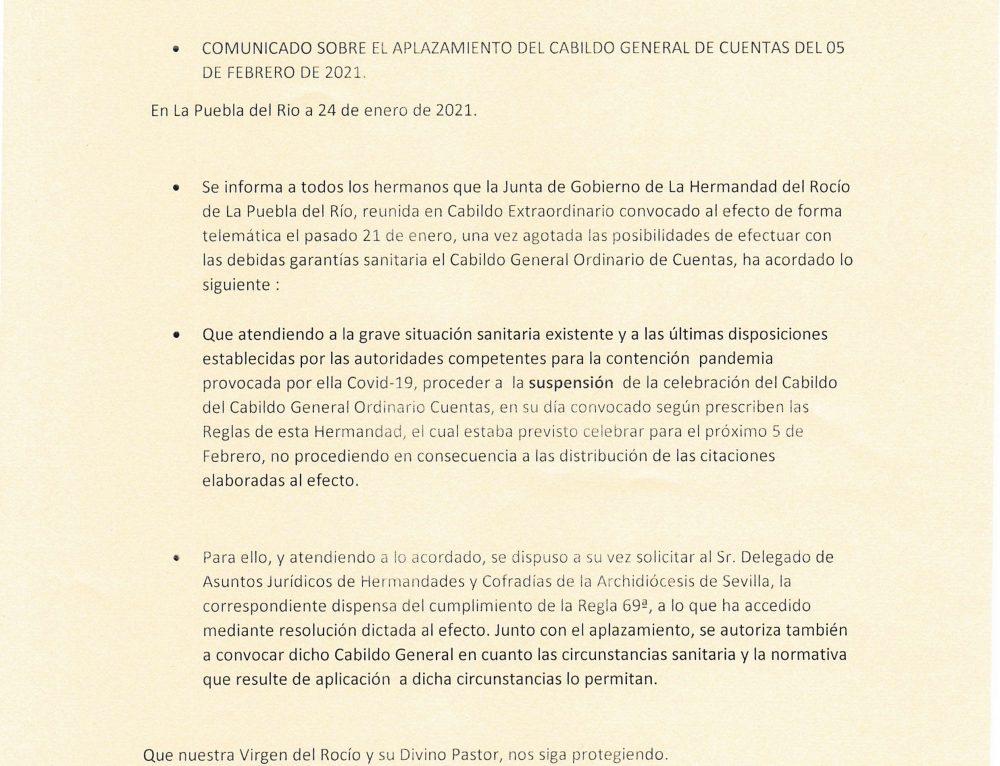 APLAZAMIENTO DE CABILDO GENERAL